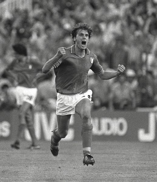 Football - 1982 World Cup Final - Italy 3 West Germany 1 Italy's Marco Tardelli celebrates his goal in the Santiago Bernabeu, Madrid