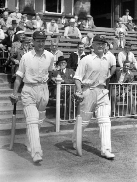 Cricket - 1953 season Jack Ikin, left, and Cyril Washbrook walk out to bat for Lancashire. Ikin made 288 first-class appearances for the county between 1939 and 1957, scoring 14327 runs. He played eighteen Tests for England from 1946 to 1955