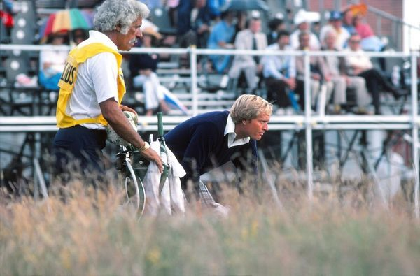 Golf - The Open Championship Jack Nicklaus (USA) with his Caddie.  British Open Golf Championships 1977 @ Turnberry  08/07/1977 Credit : Colorsport