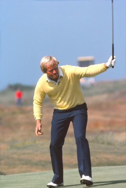 Golf - The Open Championship Jack Nicklaus (USA) celebrates sinking a putt.  British Open Golf Championships 1977 @ Turnberry  09/07/1977 Credit : Colorsport