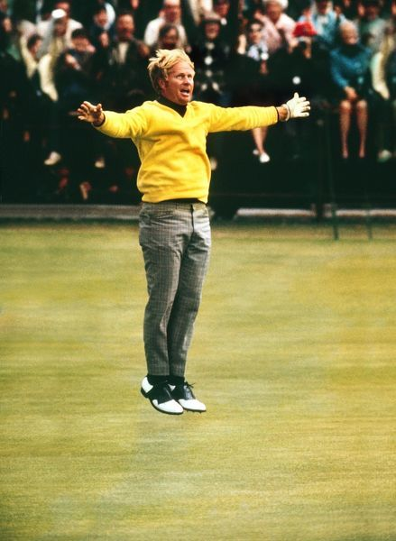 Jack Nicklaus (USA) leaps into the air after sinking the winning Putt 1970 British Open Golf Championship following an 18 hole play off with Doug Sanders (USA). Credit : Colorsport / Colin Elsey