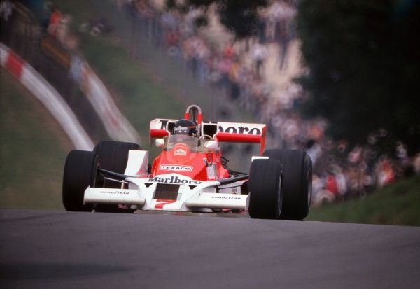 Motor Racing/Formula 1 GB's James Hunt (McLaren-Ford) 1976 British Grand Prix Brands Hatch Two months later Hunt was disqualified due to an incident at the start of the race, giving the win to Lauda