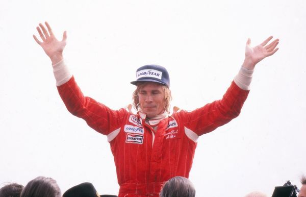 Motor Racing/Formula 1 GB's James Hunt (McLaren-Ford) celebrates after winning the race 1976 British Grand Prix Brands Hatch Two months later Hunt was disqualified due to an incident at the start of the race, giving the win to Lauda