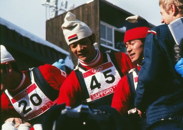 The three Japanese jumpers who had a clean-sweep of the medals celebrate - 1972 Sapporo Winter Olympics