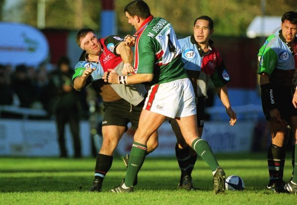 Rugby Union - 2001 / 2002 Zurich Premiership - NEC Harlequins 21 Leicester Tigers 38 England teammates Jason Leonard (Harlequins) and Martin Johnson (Leicester) fight during the match at the Twickenham Stoop