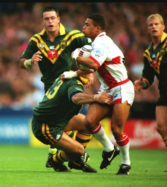 RUGBY LEAGUE  Jason Robinson (Eng) on the ball evades the tackle of Jim Dymock (Aus) England v Australia 1995 Rugby League World Cup Final Wembley Stadium