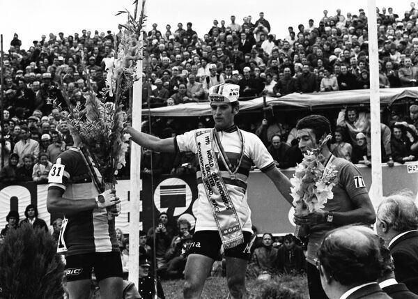 Cycling - 1970 UCI Road World Race Championships - Men's Professional Race Race winner and new World Champion Jean-Pierre Monsere of Belgium, centre, with silver medalist Leif Mortensen of Denmark, left, and bronze medalist Felice Gimondi of Italy