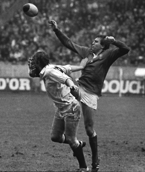 Rugby Union England's John Scott gets a boot in the face from France's Jean Luc Joinel. France 15 England 27 1982 Five Nations, Paris, 20/2/1982