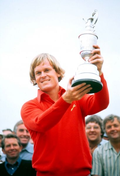 Golf - The Open Championship Johnny Miller (USA) celebrates with the trophy, winning the British Open Golf Championships @ Royal Birkdale 1976