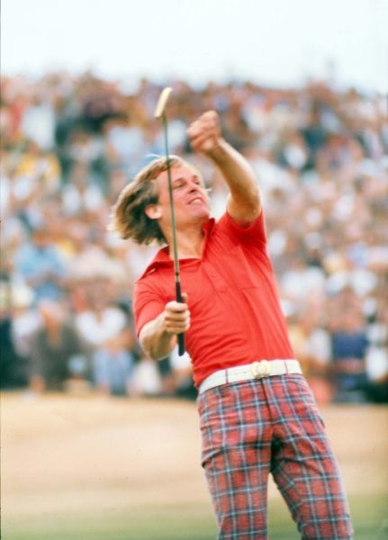 Golf - The Open Championship The Winning Putt : Pic 7 Johnny Miller (USA) celebrates after sinking the final putt to win the British Open Golf Championships @ Royal Birkdale 1976  10/07/1976 Credit : Colorsport