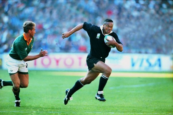 Jonah Lomu (NZ) JOHANNESBURG, 24/06/1995.  RUGBY WORLD CUP 1995 - FINAL.  SOUTH AFRICA V NEW ZEALAND.  CREDIT: COLORSPORT/STUART MACFARLANE