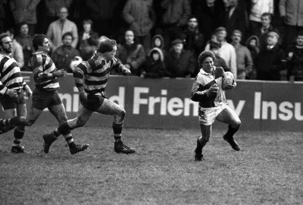 Rugby Union - 1984 John Player Cup - Semi-Final: Bristol 21 Harlequins 18     Willie Jefferson runs over for Harlequins' third try, at the Memorial Ground, Bristol.     24/03/1984