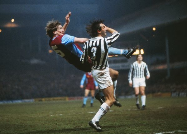 Juventus' Antonio Cabrini and Aston Villa's Ken McNaught