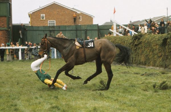 National Hunt Horse Racing - Aintree - Grand National 1975 Kilmore Boy unseats his jockey P. Blacker at Valentines