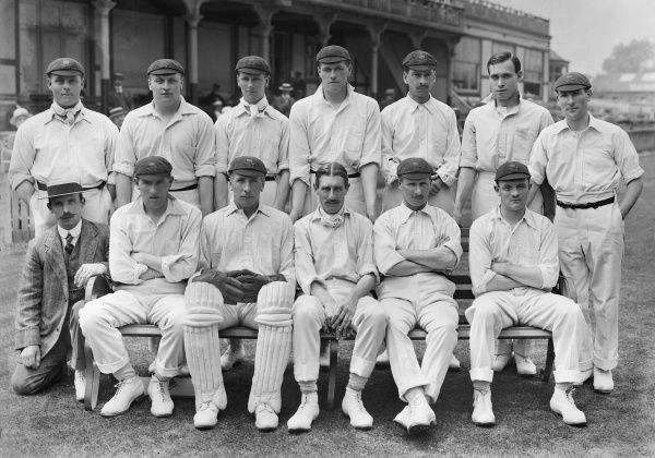 Cricket - 1914 season - Lancashire County Cricket Club team group Back (left to right): Jack Sharp, Lawrence Cook, Ernest (G.E.) Tyldesley, James 'Jas' (J.D.) Tyldesley, William Huddleston, William (W.K.) Tyldesley, James Heap. Front: L