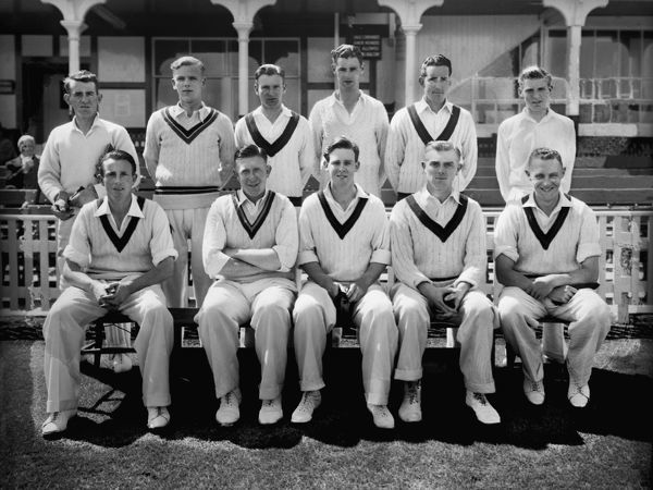 Cricket - 1950 season - Lancashire Country Cricket Club team group   1950 County Championship winners (shared with Surrey).  Back (left to right): Alfred Barlow, James Geoffrey Lomax, Peter Greenwood, Roy Tattersall, Ken Grieves, Malcolm Hilton