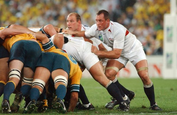 Rugby Union - The 2003 World Cup Final - England 20 Australia 17 (a.e.t.) England's Lawrence Dallaglio (left) and Richard Hill at the back of a scrum. Telstra Stadium (now Stadium Australia), Sydney, Australia