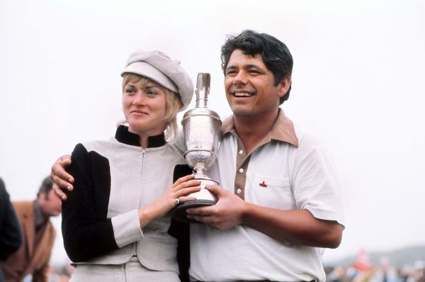 Golf Lee Trevino (USA) with the trophy and his Wife.  British Open Golf Championships @ Royal Birkdale 10/07/1971