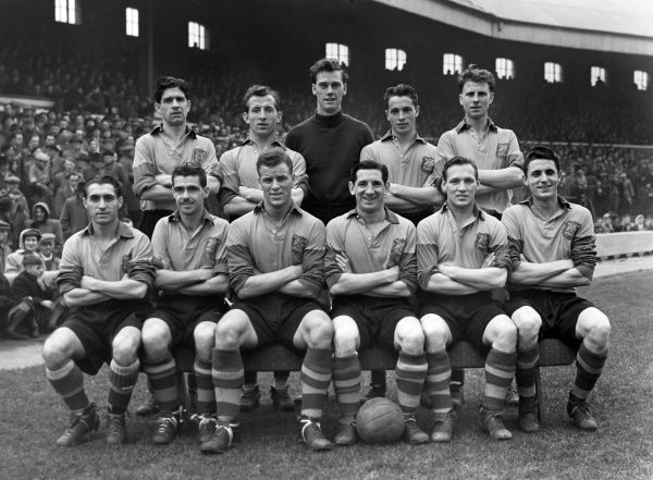 Football - 1953 / 1954 Second Division - Blackburn Rovers 2 Leeds United 2 The Leeds United team group before kick-off at Ewood Park on 31/10/1953.  Back (left to right): Eric Kerfoot, James Dunn, Royden Wood, Granville Hair, Jack Marsden.  Front
