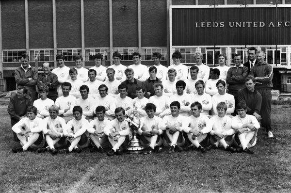 Football - 1969 / 1970 season - Leeds United photocall Full Squad team group at Elland Road. Back Row (left to right): Don Revie (manager), Robert 'Bob' English (physio), Keith Edwards, James 'Shaun' O'Neill, Chris Galvin, David Kennedy, Norman Hunter
