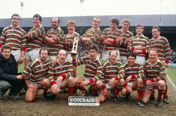 Rugby Union - Courage Clubs Championship 1988 - Leicester vs. Waterloo Leicester team celebrate winning the title.  Back Row (L to R): Ian Bates, John Wells, Wayne Richardson, Stuart Redfern, Dean Richards, Malcolm Foulkes-Arnold, Tom Smith