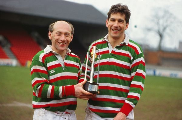 Rugby Union - Courage Clubs Championship 1987/88 Les Cusworth and Paul Dodge (Leicester) with the Courage Clubs Championship trophy 1988