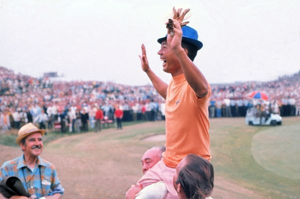 Liang Huan Lu (Taiwanese) -known as Mr. Lu - is chaired off the 18th green after finishing in 2nd place to winner Lee Trevino.  1971 British Open Golf Championships; Royal Birkdale; Final Day; 10/07/1971 Credit : Colorsport