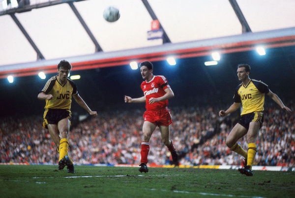 Football - 1988 / 1989 Liverpool v Arsenal. 26/05/1989     David O'Leary of Arsenal, John Aldridge and Steve Bould of Arsenal at Anfield.     Credit : Colorsport / Andrew Cowie