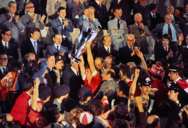 Football - Liverpool captain Emlyn Hughes lifts the European Cup. European Cup Final 1977 - Liverpool 3 Borussia Monchengladbach 1 25/05/1977