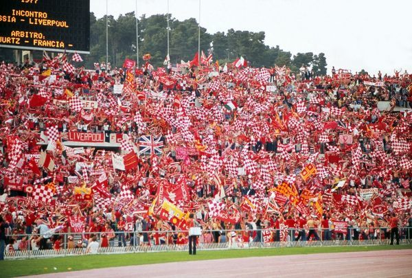 liverpool fans at the the stadio olimpico rome 1977 european cup final