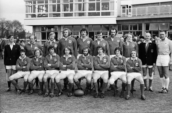Rugby Union - 1972 / 1973 RFU Club Knock-Out Competition - Semi-Final: London Welsh 15 Bristol 18 The London Welsh team group before kick-off at Old Deer Park on 14/04/1973. Back (left to right): Mr George Walker (touch-judge), Jeff Young, Jim Shanklin