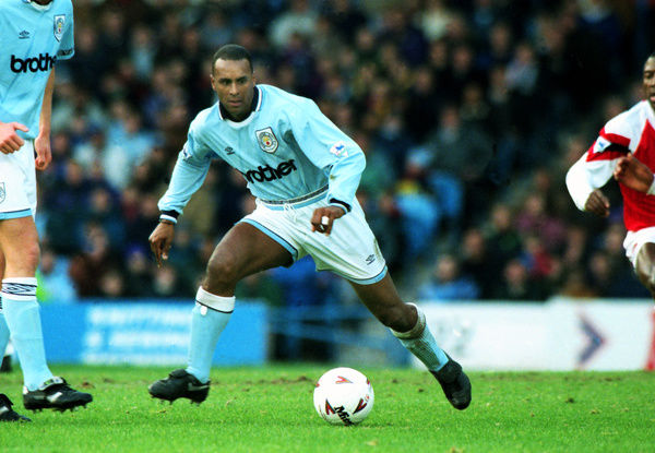 Football - 1993 / 1994 Premier League - Manchester City 0 Arsenal 0     City's David Rocastle, at Maine Road.     15/01/1994