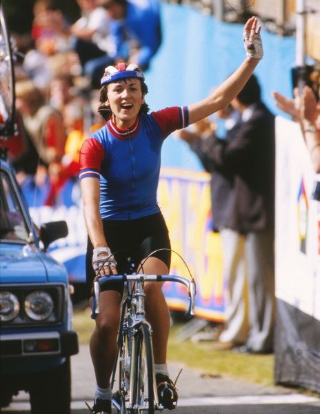 Cycling - 1982 UCI Road World Championships - Women's Road Race Great Britain's Amanda 'Mandy' Jones crosses the line to win the race at Goodwood. She was the first British woman to win a world championship for fifteen years