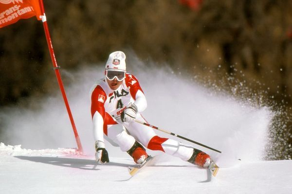 Alpine Skiing - 1987 FIS World Championships - Crans-Montana Luxembourg's Marc Girardelli in the men's Giant Slalom at Crans-Montana, Switzerland. He finished in second place