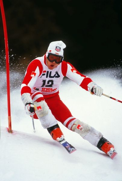 Alpine Skiing - 1987 FIS World Championships - Crans-Montana Luxembourg's Marc Girardelli during the men's Slalom Combined at Crans-Montana, Switzerland. He finished in first place