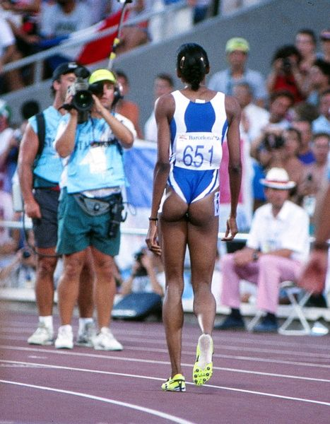 Athletics - 1992 Barcelona Olympics - Women's 400m Final France's Marie-Jose Perec celebrates winning the gold medal in the Estadi Olimpic de Montjuic, Barcelona, Spain