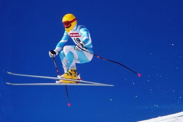 Skiing : World Championships 30/01/1987 Mens Downhill @ Crans Montana - Italy Martin Bell - GBR
