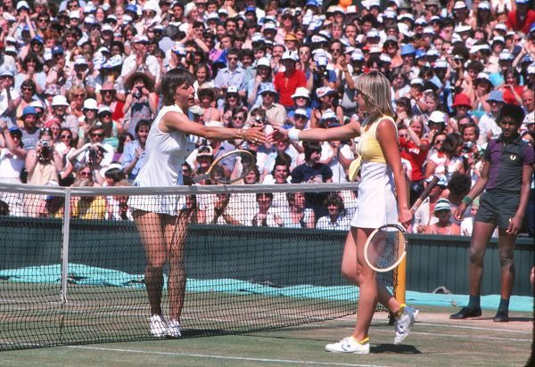 Tennis - Wimbledon Championships 1979 - Ladies Singles Final Martina Navratilova (Winner, left) shakes hands with Chris Evert at the end of the match