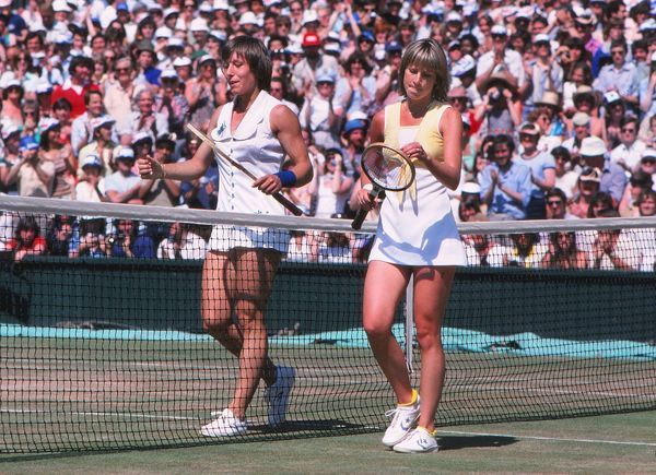 Tennis - Wimbledon Championships 1979 - Ladies Singles Final  Martina Navratilova (Winner, left) with Chris Evert after the final point