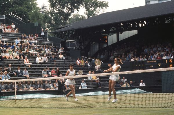 Tennis - 1970 Wightman Cup - Wimbledon The USA's Mary Ann Curtis, right, and Julie Heldman. The USA beat Great Britain 4-3. 13/06/1970