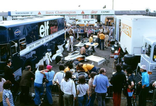Motor Racing/Formula 1 The pits at the 1973 British Grand Prix looking into the McLaren paddock with all three of the cars for the race. The Tyrell team is on the left. Silverstone The McLaren team achieved first and third positions with Peter Revson
