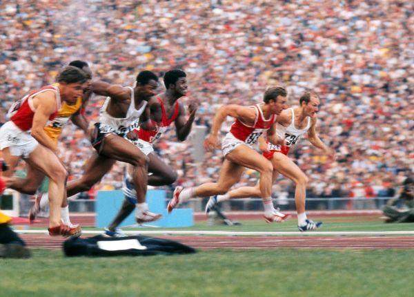 Athletics - 1972 Munich Olympics - Men's 100m Final The race in progress in the Olympiastadion, Munich, West Germany. From right to left: Poland's Zenon Nowosz, the USSR's Valeriy Borzov, Trinidad and Tobago's Hasely Crawford, the USA's Robert Taylor