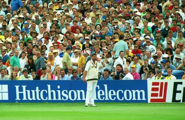 Cricket - 1993 Ashes, 4th Test - England vs. Australia Merv Hughes jokes with the Headingley crowd