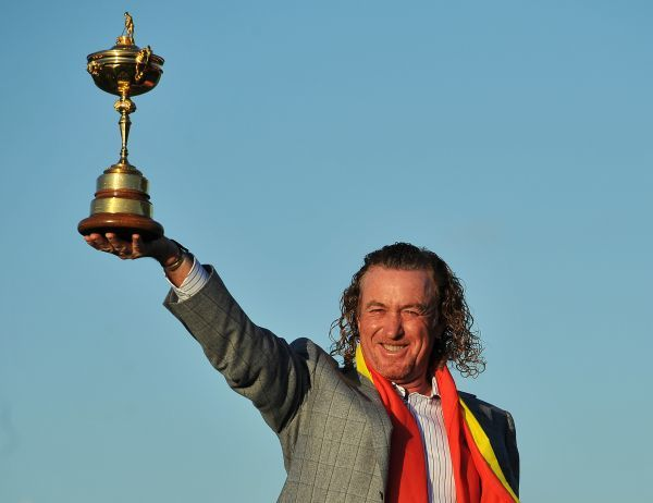 Golf - Ryder Cup 2010 - Day 4, Singles Miguel Angel Jimenez of Europe celebrates withe the Ryder Cup trophy at Celtic Manor, Newport