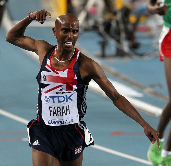 Athletics - World Championships 2011 - Daegu - Day Nine Mo Farah of Great Britain celebrates his victory in the 5000m, during day nine of The Athletics World Championships in Deagu, South Korea on 4th September 2011. Ian MacNicol/Colorsport