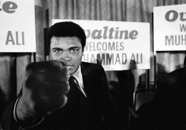 Boxing - 1971 Press conference in London  Muhammad Ali. Ali was on a tour of England promoting the malted milk drink 'Ovaltine'. 03/10/1971