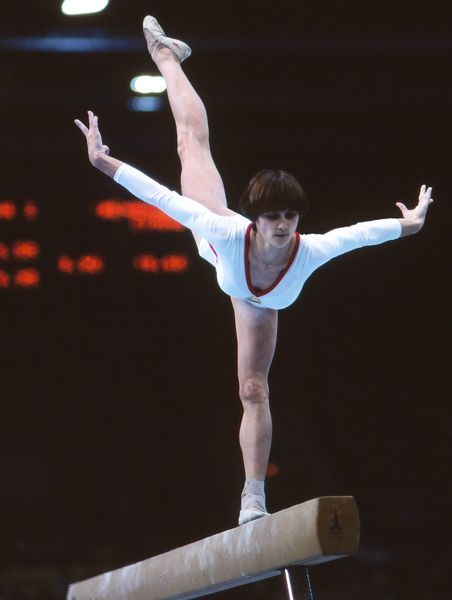 Gymnastics - 1980 Moscow Olympics - Women's Balance Beam Final The gold medal winner, Romania's Nadia Comaneci, on the beam in the Palace of Sports of the Central Lenin Stadium, Moscow, USSR.  She also won the gold medal in the floor exercise