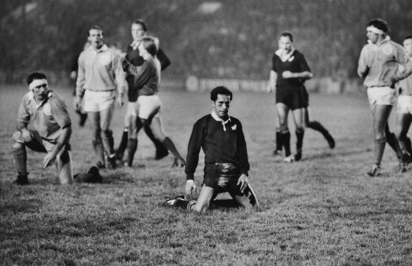 Rugby Union - 1983 New Zealand Tour to Scotland & England - Midland Division 19 New Zealand 13 (8/11/1983) New Zealand centre Steve Pokere drops to his knees after he over-hits his kick ahead at Welford Road, Leicester