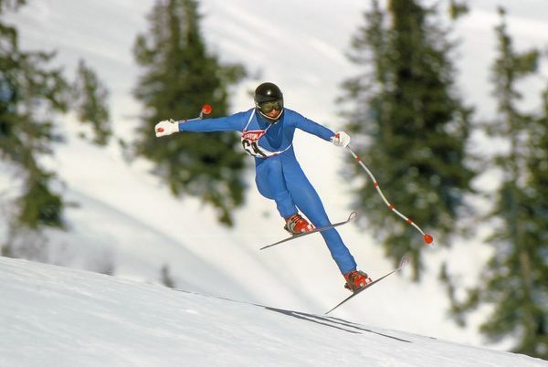 Skiing - FIA World Cup 1981 - Downhill New Zealand's Dean Steward in action in St Anton, Austria