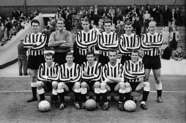 Football - 1964 / 1965 season - Newcastle United Team Group   That season they were Second Division Champions.  Back (l-r): J. McGrath, G. Marshall, Frank Clark, O. Burton, D. Craig, J. Iley.  Front: A Suddick, D. Hilley, S. Anderson, B. Thomas, Trevor Hockey
